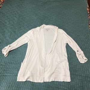 Cream waterfall 3/4 rolled button sleeve cardigan